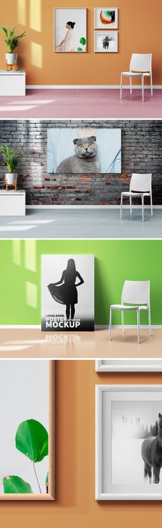 Welcome this 3 beautiful living room interior scenes with #Photoframes and #Poster #PSD #mockups to showcase your beautiful photo, design, painting or artwork. Care has been taken to create it with details. You can easily change your designs within the photo frames and poster using the smart object layers.
