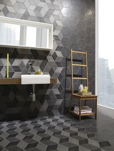 2013 CID Award Coverings - Natucer Ceramic Tiles - Great modern bathroom tile design and patterns!
