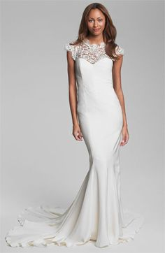 So wish this could be mine! Nicole Miller Lace Yoke Satin & Charmeuse Mermaid Gown available at #Nordstrom #NordstromWeddings