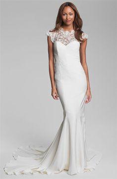 Nicole Miller Lace Yoke Satin & Charmeuse Mermaid Gown   #Nordstromweddings