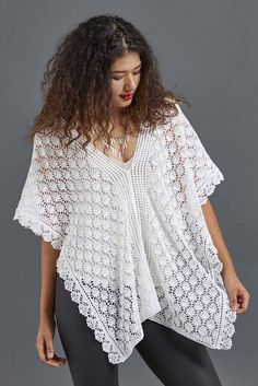 This light-as-air crochet poncho uses a vintage pineapple crochet lace design to make two rectangular panels. Worked in mercerized cotton thread and adorned with filet crochet and picot shells, this is a project you'll be proud to wear! Find the pattern in Love of Crochet, Winter 2017.
