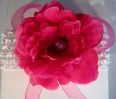"""A darling pink """"NEWBORN"""" size Headband features a deep pink flower and white crocheted headband designed and created by CG ADORN."""