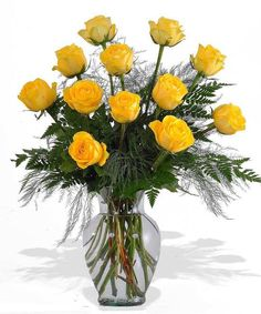One dozen yellow roses delivered to Columbus oh or Nationwide by local Columbus Flower shop, Griffins Floral Design Rose Vase, Flower Vases, Exotic Flowers, Fresh Flowers, Bee Friendly Flowers, Ecuadorian Roses, Send Roses, Daffodil Flower, Cactus Flower