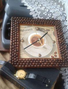 """Часы для дома ручной работы. Ярмарка Мастеров - ручная работа часы настенные"""" кофе для него"""" подарок мужчине. Handmade."""