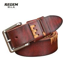 3 Color Men Women Genuine Leather Belt Waist Strap Waistband Fashion Jeans Belt