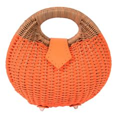 8fff769ab235 Ladies Cute Orange Rattan Straw Bag