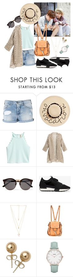 """Traveling with Yoonmin ❤️"" by my-kpop-dream ❤ liked on Polyvore featuring Armani Jeans, August Hat, Illesteva, Balenciaga, Natalie B, Chloé, Bling Jewelry and CLUSE"