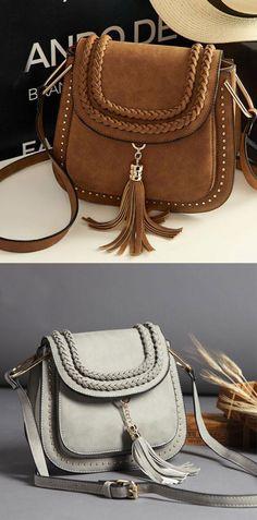 a635c64413e2 Women Retro Matte Saddle Messenger Bag Tassel Weave Shoulder Bag  bag   tassel Canvas Shoulder