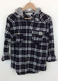 hooded black flannel shirt