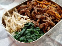 Spice Up Your Lunch Routine With These 16 Bento Box Ideas | Brit + Co | Sesame Beef Bento: Korean beef bibimbap and a Japanese rice bowl have come together and the result is flavor overload. Want to make it healthier? Sub brown rice in for the white stuff.