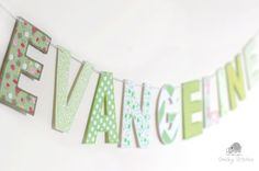 Spring green name banner name hanging name flag by CheekyStitches