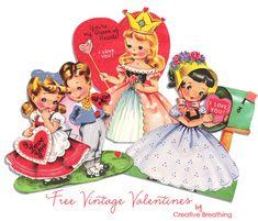 vrij vintage valentijn kaarten