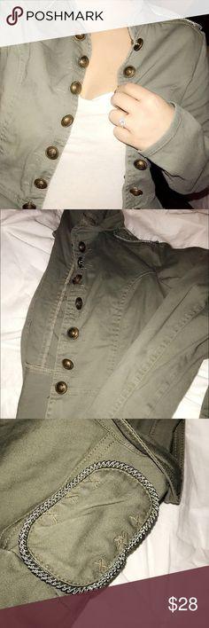 Military Blazer Jacket This needs to be a part of your wardrobe✨ It's lightweight.  Comfortable! NOT tight. Stretches.  Cute detailing on the buttons top shoulders and back!  Size is Large but fits like a small! It will definitely fit a small medium or large!  (I'm a small for reference)   Military green and brass buttons! Jackets & Coats Utility Jackets