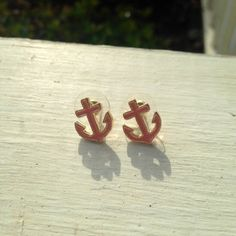 Pink and gold anchor stud earrings on Etsy, $12.00