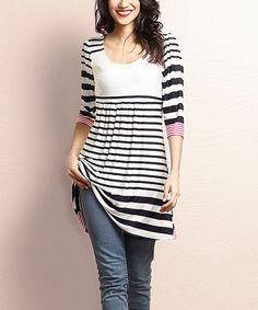 Another great find on #zulily! Navy & White Stripe Empire-Waist Tunic Dress #zulilyfinds