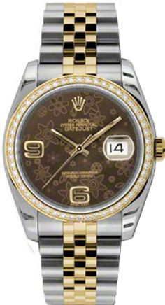 116231  ROLEX OYSTER PERPETUAL DATEJUST WOMENS LUXURY WATCH    Usually ships within 4 weeks  - FREE Overnight Shipping- NO SALES TAX (Outside California) - WITH MANUFACTURER SERIAL NUMBERS- Brown Floral Dial - 52 Diamonds Set on 18K Yellow Gold Bezel  - Self Winding Automatic Movement- 3 Year Warranty- Guaranteed Authentic - Certificate of Authenticity- Manufacturer Box