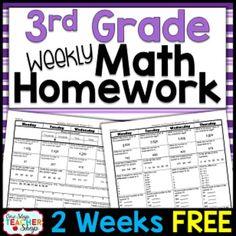 Third Grade Math Homework FREE