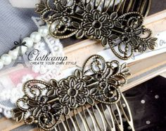 Wholesale Antique bronze plated  Filigree hair comb Setting NICKEL FREE(COMBSS-21) for Tilly how cute with her red dress