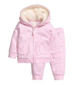 Hooded Jacket and Joggers   Light pink   KIDS   H&M US