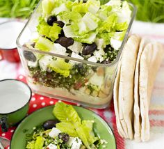 made it today > very yummy!   Layered houmous, tabbouleh & feta picnic bowl