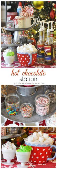 Hot Chocolate Station Holiday Treats, Christmas Treats, Holiday Parties, Holiday Recipes, Corporate Christmas Party Ideas, Hot Chocolate Party, Hot Chocolate Recipes, Cocoa Party, Chocolate House