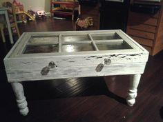 Shabby Chic Sash Window Coffee Table with Swarovski Crystal inlays on Etsy, $429.99