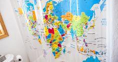 World Map Shower Curtain and Decorate Bahtroom — Reddish Home Ideas Teaching Geography, Teaching Kids, Curtain World, Maps For Kids, World Map Art, Map Skills, Door Murals, Map Globe, Art Corner