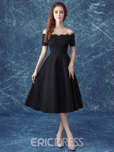 Ericdress Casual Off the Shoulder Short Sleeves Tea-Length Cocktail Dress