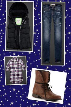 A&F Shirt, vest, & jeans  DSW Boots