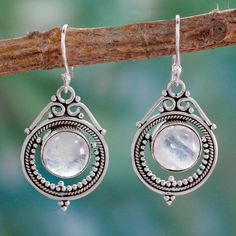 Handmade Sterling Silver 'Mumbai Moons' Moonstone Earrings (India)