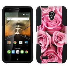 Alcatel OneTouch Conquest Beautiful Pink Roses Print Flowers Hybrid Case