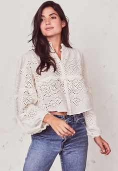 LoveShackFancy Lola Top from Miami by Neptunes — Shoptiques Look Fashion, Fashion Beauty, Fashion Outfits, Womens Fashion, Latest Fashion Design, High Collar, Her Style, Blouse Designs, Editorial Fashion