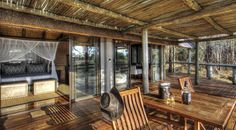 Savute Safari Lodge features accommodation in thatched chalets along the banks of the Savute Channel
