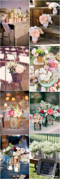 rustic wedding decor ideas- tin can wedding ideas / http://www.deerpearlflowers.com/45-charming-inexpensive-tin-can-wedding-ideas/