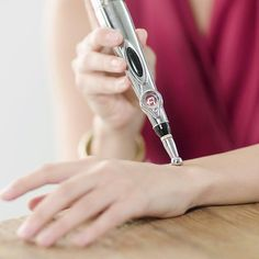 This Electronic Laser Acupuncture Pen is a painless, acupuncture-type stimulation that uses an electric pulse to activate tissues, firm sagging and aging skin, promote healthy blood circulation, detox the meridians and help to reduce muscle pain! Skin Piercing, Flat Piercing, Alternative Treatments, Deep Tissue, Muscle Pain, Muscle Soreness, Cool Things To Buy, Stuff To Buy, Massage Therapy