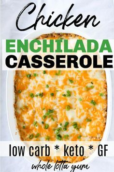 Low carb keto chicken casserole with green chili sauce. The chicken enchilada ca… Low carb keto chicken casserole with green chili sauce. The chicken enchilada casserole bakes in only 20 mins and is so quick and easy! Low Carb Chicken Casserole, Low Carb Chicken Recipes, Low Carb Recipes, Healthy Recipes, Keto Casserole, Easy Recipes, Soup Recipes, Low Carb Chicken Dinners, Smoothie Recipes