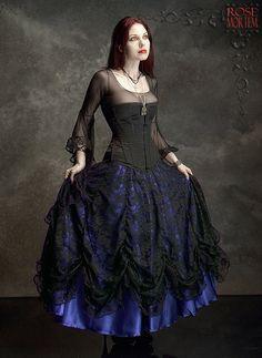 Cordelia Layered Long Bustle Skirt in Satin and Lace door rosemortem