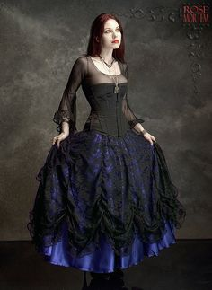 Cordelia Layered Long Bustle Skirt in Satin and Lace - Custom Elegant Gothic Clothing and Dark Romantic Couture. The idea is there, but it could be done better, fuller, with more satin + lace!