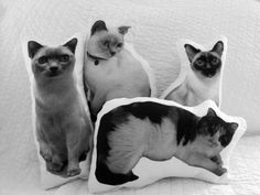Custom Cat  Pillow by GoGAGA4Art on Etsy, $50.00 haha I should trade in my cats!