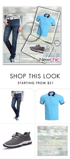 """""""Newchic 24"""" by umay-cdxc ❤ liked on Polyvore featuring Wall Pops!, men's fashion and menswear"""