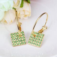Arlumi 18k Yellow Gold plated Green Crystal Diamond Shaped Zirconia Hoop Dangle Earrings E540