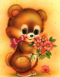 Animal Paintings, Animal Drawings, Cute Drawings, Cute Images, Cute Pictures, Teddy Beer, Baby Animals, Cute Animals, Cute Animal Illustration