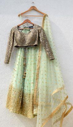 Indian salwar suit crop top lehenga designer dress indian salwar kameez party wear crop top lengha i Outfit Designer, Indian Designer Wear, Designer Dresses, Wedding Dress, Indian Wedding Outfits, Indian Outfits, Anita Dongre, Indian Attire, Indian Wear