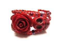 Skull Bracelet Day Of The Dead Wrap Red Rose by sweetie2sweetie, $19.99