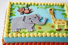 Looking for cake decorating project inspiration? Check out Jungle Birthday Cake by member Corrie Rasmussen. Jungle Birthday Cakes, Jungle Theme Cakes, Safari Cakes, Novelty Birthday Cakes, Safari Birthday Party, Birthday Cake For Kids, Baby Shower Sheet Cakes, Safari Baby Shower Cake, Jungle Cake Pops