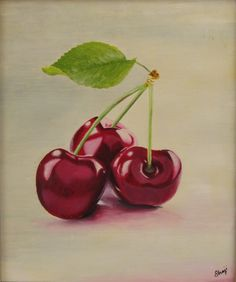 "Saatchi Online Artist: shaji panthayil; Oil, 2010, Painting ""Cherry in White"""