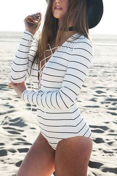 White Stripe Long Sleeve Lace-up Bodysuit                                                                                                                                                                                 More