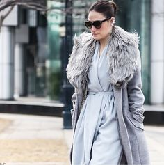Talia Brown wearing a Sentaler grey long coat with baby alpaca fur to World MasterCard Fashion Week in Toronto