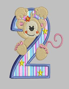 Monkey Number  Applique Machine Embroidery by EHEmbroideryDesigns, $6.99