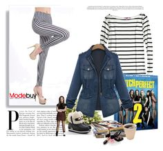Modebuy.con Fashion Denim Jacket and Stripe Leggings by modebuy on Polyvore featuring Calypso St. Barth, Nearly Natural, Chanel and modebuy